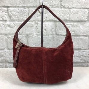 Coach Suede Ergo Hobo in Deep Wine